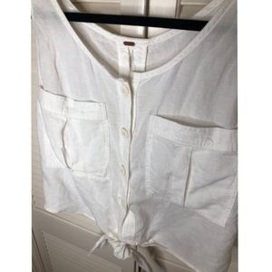 Free People Tops - Free People Button Down Tie Linen Shirt